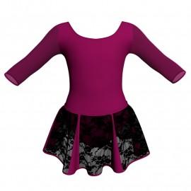 Vestito danza con gonnellino in pizzo maniche 3/4 e inserto SK302LPP406T