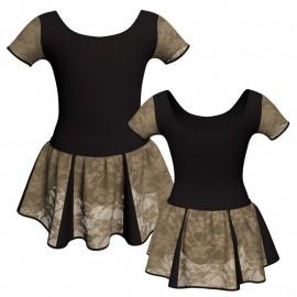 Vestito danza con gonnellino in pizzo manica corta e inserto SK302LPP407T