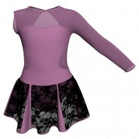 Vestito danza con gonnellino in pizzo Monospalla e inserto SK302LPP110SST