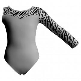 Body danza Monospalla con inserto pois, dama, animal PDA1019SST
