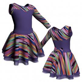 Body danza con gonna Monospalla e inserto fantasia SK319LFF1019SST