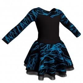 Body danza con gonna maniche lunghe e inserto fantasia SK319LFF1019