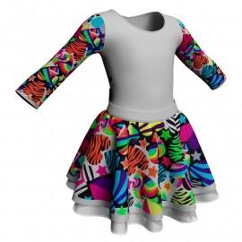 Body danza con gonna maniche lunghe e inserto fantasia SK319LFF102