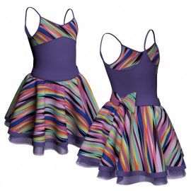 Body danza con gonna bretelle e inserto fantasia SK319LFF404