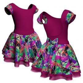 Body danza con gonna maniche aletta e inserto fantasia SK319LFF414T