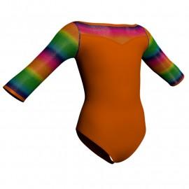 Body danza maniche 3/4 con inserto in lurex PLX105