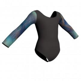 Body danza maniche lunghe con inserto in lurex PLX405T