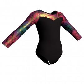 Body danza maniche lunghe con inserto in lurex PLX1019