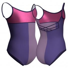 Body danza bicolore bretelle con intreccio dietro e inserto in lurex PLF1014S
