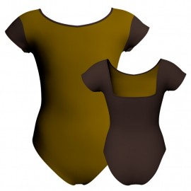Body danza bicolore maniche aletta con inserto PLK231