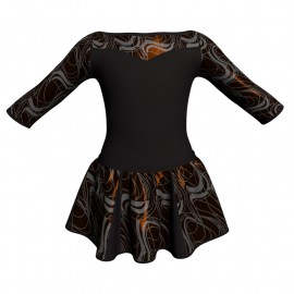 Vestito danza con gonnellino in lurex maniche 3/4 e inserto SK302LXX105