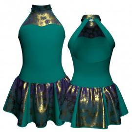 Vestito danza con gonnellino in lurex senza maniche e inserto SK302LXX107