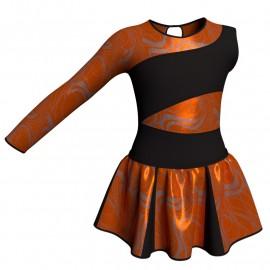 Vestito danza con gonnellino in lurex Monospalla e inserto SK302LXX108SS