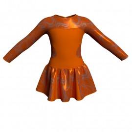 Vestito danza con gonnellino in lurex maniche lunghe e inserto SK302LXX110
