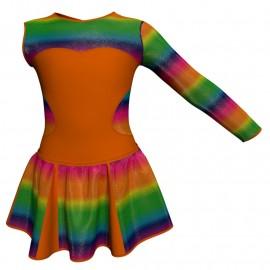 Vestito danza con gonnellino in lurex Monospalla e inserto SK302LXX110SST
