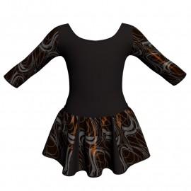 Vestito danza con gonnellino in lurex maniche 3/4 e inserto SK302LXX406T