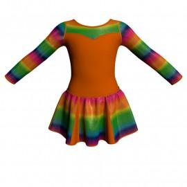 Vestito danza con gonnellino in lurex maniche lunghe e inserto SK302LXX1019