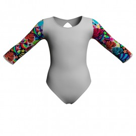 Body danza maniche lunghe con inserto fantasia PFA102