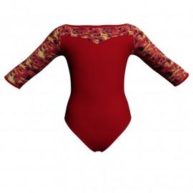 Body danza maniche 3/4 con inserto fantasia PFA105