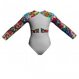Body danza maniche lunghe con inserto fantasia PFA113