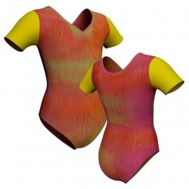 Body danza in lurex manica corta con inserto PXL1008T