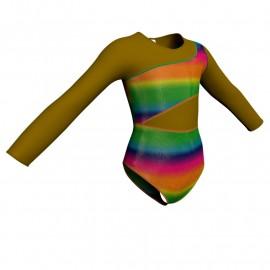 Body danza in lurex maniche lunghe con inserto PXL108