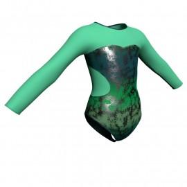 Body danza in lurex maniche lunghe con inserto PXL110