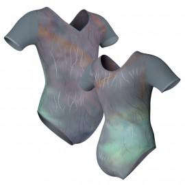 Body danza in Lurex manica corta con inserto in rete o pizzo PXR1008T