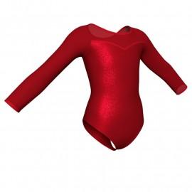 Body danza in Lurex maniche lunghe con inserto in rete o pizzo PXR1019