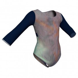 Body danza in Lurex maniche lunghe con inserto in rete o pizzo PXR102