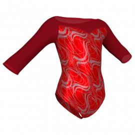 Body danza in Lurex maniche 3/4 con inserto in rete o pizzo PXR105