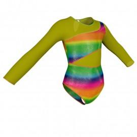 Body danza in Lurex maniche lunghe con inserto in rete o pizzo PXR108