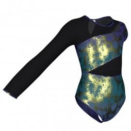 Body danza in Lurex Monospalla con inserto in rete o pizzo PXR108SS
