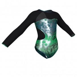 Body danza in Lurex maniche lunghe con inserto in rete o pizzo PXR110