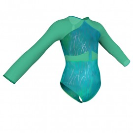Body danza in Lurex maniche lunghe con inserto in rete o pizzo PXR113