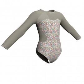 Body danza in lycra fantasy maniche lunghe con inserto PFR110