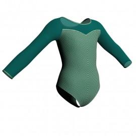 Body danza in lycra stampata maniche lunghe con inserto PSB1019