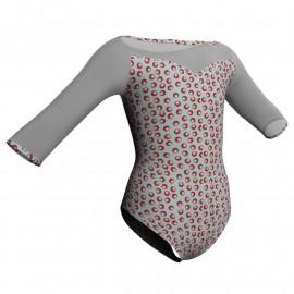 Body danza in lycra stampata maniche 3/4 con inserto PSB105