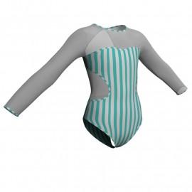 Body danza in lycra stampata maniche lunghe con inserto PSB110