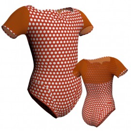 Body danza in lycra stampata manica corta con inserto PSB111