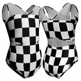 Body danza in lycra stampata senza maniche con inserto PSB101