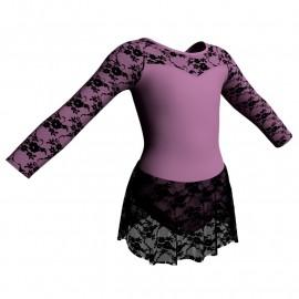 Body danza maniche lunghe con inserto belen pro e gonnellino in pizzo SK1LBP1019