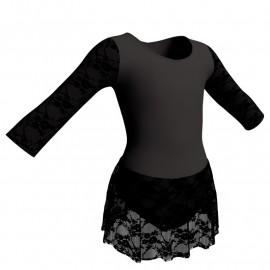 Body danza maniche lunghe con inserto belen pro e gonnellino in pizzo SK1LBP102