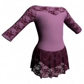 Body danza maniche 3/4 con inserto belen pro e gonnellino in pizzo SK1LBP105