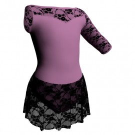 Body danza Monospalla con inserto belen pro e gonnellino in pizzo SK1LBP105SST