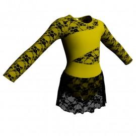 Body danza maniche lunghe con inserto belen pro e gonnellino in pizzo SK1LBP108