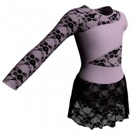 Body danza Monospalla con inserto belen pro e gonnellino in pizzo SK1LBP108SS