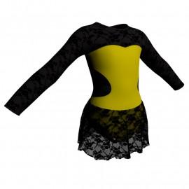 Body danza maniche lunghe con inserto belen pro e gonnellino in pizzo SK1LBP110