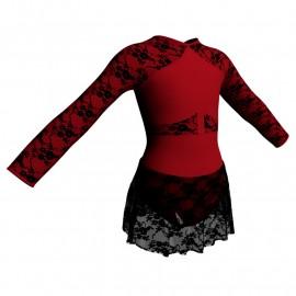 Body danza maniche lunghe con inserto belen pro e gonnellino in pizzo SK1LBP113
