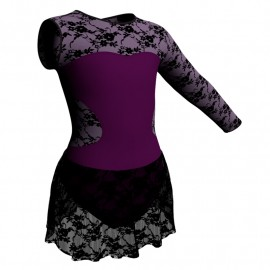 Body danza Monospalla con inserto belen pro e gonnellino in pizzo SK1LBP110SST